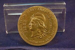 1920-France-Paris-Rabattmedaille-Werbemarke-5-Francs-Retour-at-60-Francs