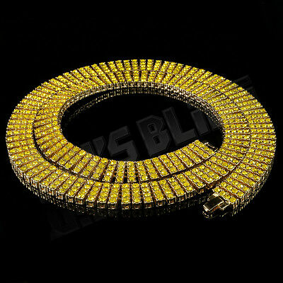 14k Gold Canary 4 ROW Lemonade Simulated Diamond Iced Out Chain Hip Hop Necklace