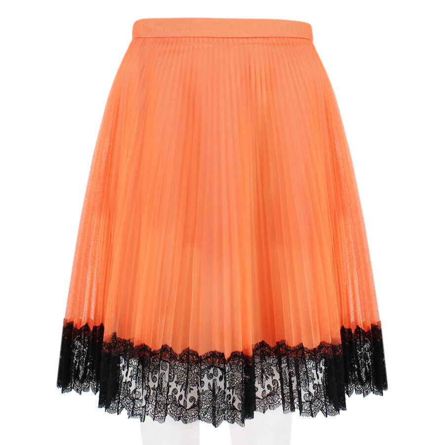 Christopher Kane ARANCIO FLUO a Pieghe Tulle Pizzo Minigonna UK8 IT40