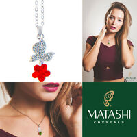 16 Rhodium Plated Necklace W/ Butterfly, Flower & Red Crystals By Matashi