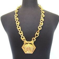 L-3368432 New Versace Donna Chain With Face Pendant Gold Necklace