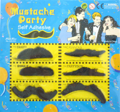 Fausse Moustache Pack 6 Fancy Dress Party Facial Cheveux Accessoires