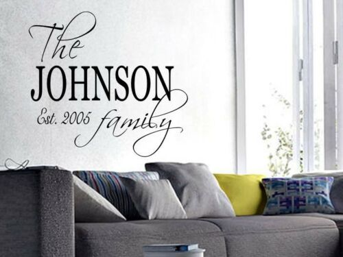 """PERSONALIZED Wall Art Decal Quote Words Lettering 30/"""" x 24/"""" FAMILY NAME EST"""