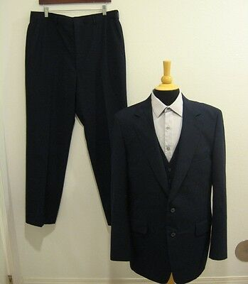 Assassino 70s Vtg 3-pc Navy Blu Retro - Tuta Sz 42 ? Gilet Blazer Pantaloni!