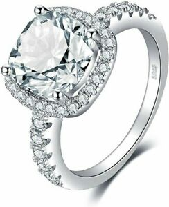 Ring Size R Square Princess Cut Ladies Ring 925 Sterling Silver Cubic Zirconia