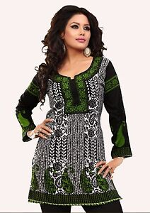 Top-Women-Fashion-Casual-Indian-Kurti-Tunic-Short-Kurta-Printed-Shirt-Dress-59B