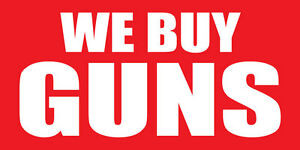 2'x4' WE BUY GUNS Vinyl Banner Sign - ammo, weapons, bullets, pistols, firearms