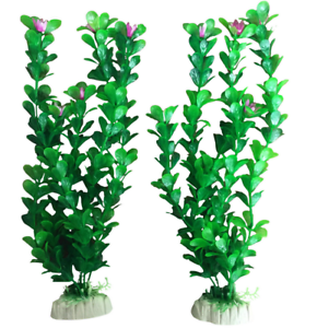 """2 Aquarium Fish Tank Plastique Plantes Décoration Ornement 12"""" Tall Plant Us/au-afficher Le Titre D'origine"""