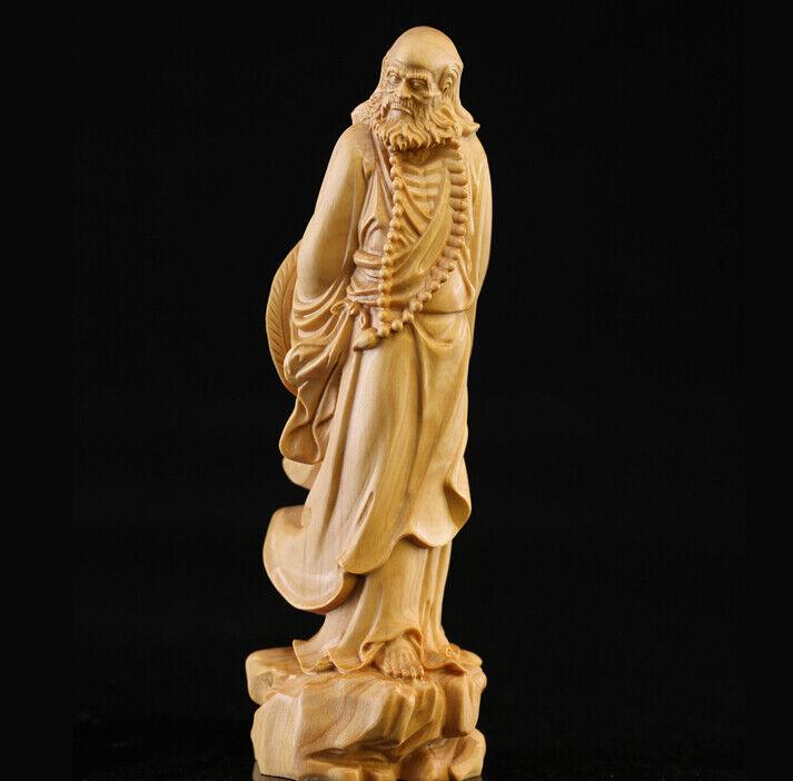 JP063ca - 13 Cm De Alto Tallada Boj estatuilla Talla  Damo Buda