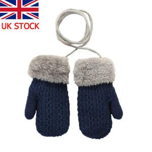 Kids Girl Toddler Winter Warm Cute Gloves Terry Mittens Neck String