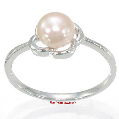 Discreet Solid Sterling Silver .925 Flower-design Pink Cultured Pearl Solitaire Ring Tpj Delicacies Loved By All Fine Jewelry Pearl