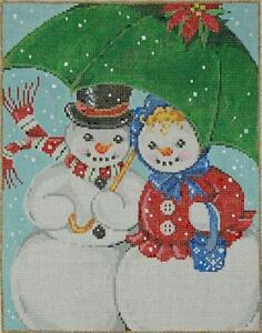 Needlepoint Handpainted Canvas SANDRA GILMORE SNOWMANCE Christmas Winter 18M