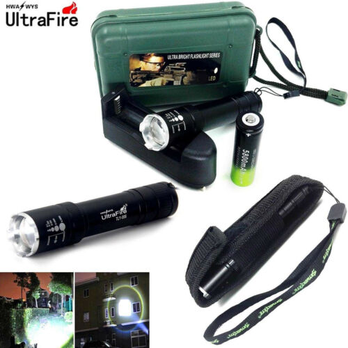 Tactical 50000LM T6 LED Flashlight Zoomable Light /& 18650 Battery Charger Box TP