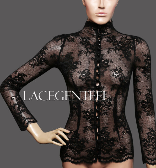 Posh British Vintage Sexy Long sleeve See Through Black Lace High Neck Women Top