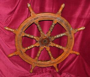 Solid-Wood-amp-Iron-Ship-039-s-Helm-Steering-Wheel-Circa-Early-20th-Century