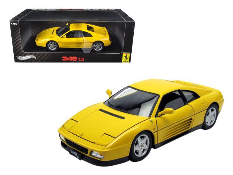 Hot wheels V7437 1989 Ferrari 348 TB giallo Elite Edition 1/18 Diecast Car Model