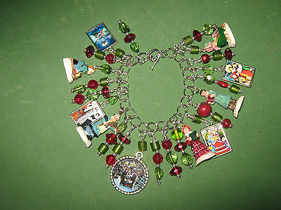 """VICTORIAN CAROLERS"" -CHRISTMAS CHARM BRACELET-ONE OF A KIND  HAND MADE"