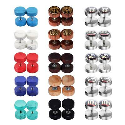 Fake Cheaters Plugs 16G Red Smile Stone Steel 10mm 00G 2pcs