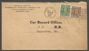 1937 Corner Card Cover 3c Slogan Montreal PQ Napierville Junction Railway