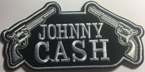 """4 3//4/"""" x 2 1//4/"""" JOHNNY CASH Logo Iron On Patch Embroidered Sew on//Iron on"""