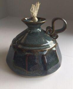 Vintage Art Pottery Zakala Studio Handmade Oil Lantern Light Signed Blue Cerami