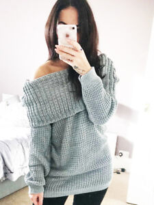 6b85f0a20f6 Chunky Bardot Jumper Off Shoulder Top Knitted Long Sleeve Womens ...