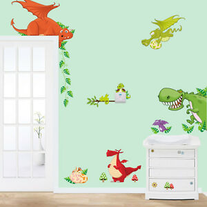 Wunderbar Das Bild Wird Geladen XXL Wandtattoo Bunte Drachen Dinos Wandsticker  Kinderzimmer Deko