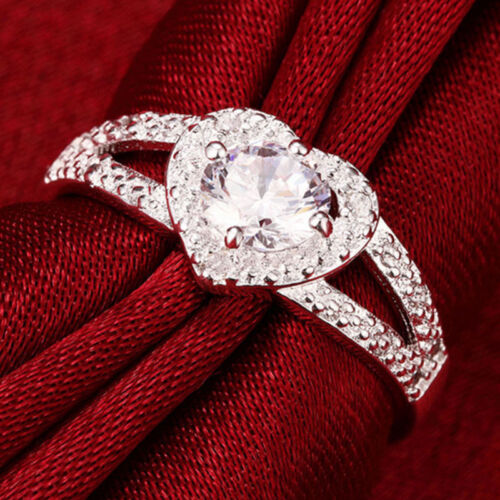 Size 6//7//8//9 Trendy Bridal Wedding Rings Silver Plated Crystal Love Heart Ring