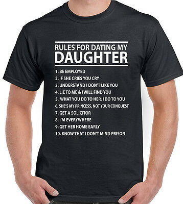 Mens Funny T-Shirt - Rules For Dating My Daughter Father's Day Dad Present Gift