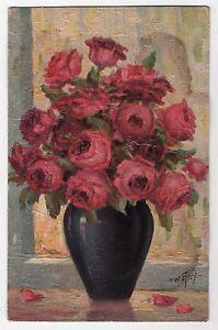 Mazzo Di Fiori In Vaso.Cartolina Antica Illustrata Vaso Mazzo Di Fiori Rose Rosa
