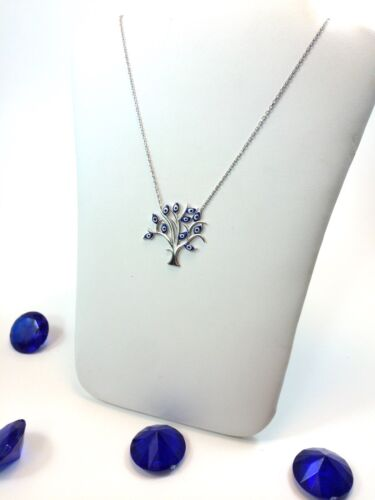 925 Sterling Silver Evil Eye w// Tree of Life White Blue Charm Pendant Necklace