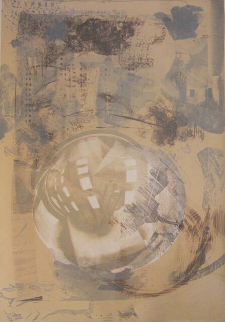 """ROBERT RAUSCHENBERG Signed 1969 Original Lithograph - """"Sack"""", from """"Stoned Moon"""""""