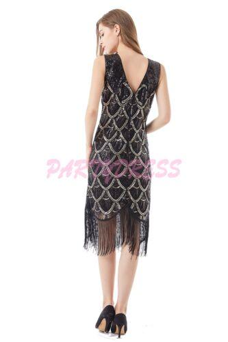 OP 1013 Ladies Costume Fancy Dress 20s Flapper Gatsby Gangster Black Sequin 6-14