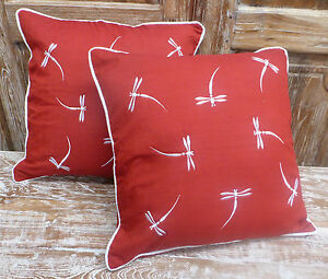 Cotton-Cushion-Covers-Red-White-Hand-Made-Dragonfly-Embroidery-pair-40cm