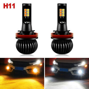 2x 160W H8 H11 Driving LED Fog Light Bulbs White+Amber Yellow Dual Color 1300LM