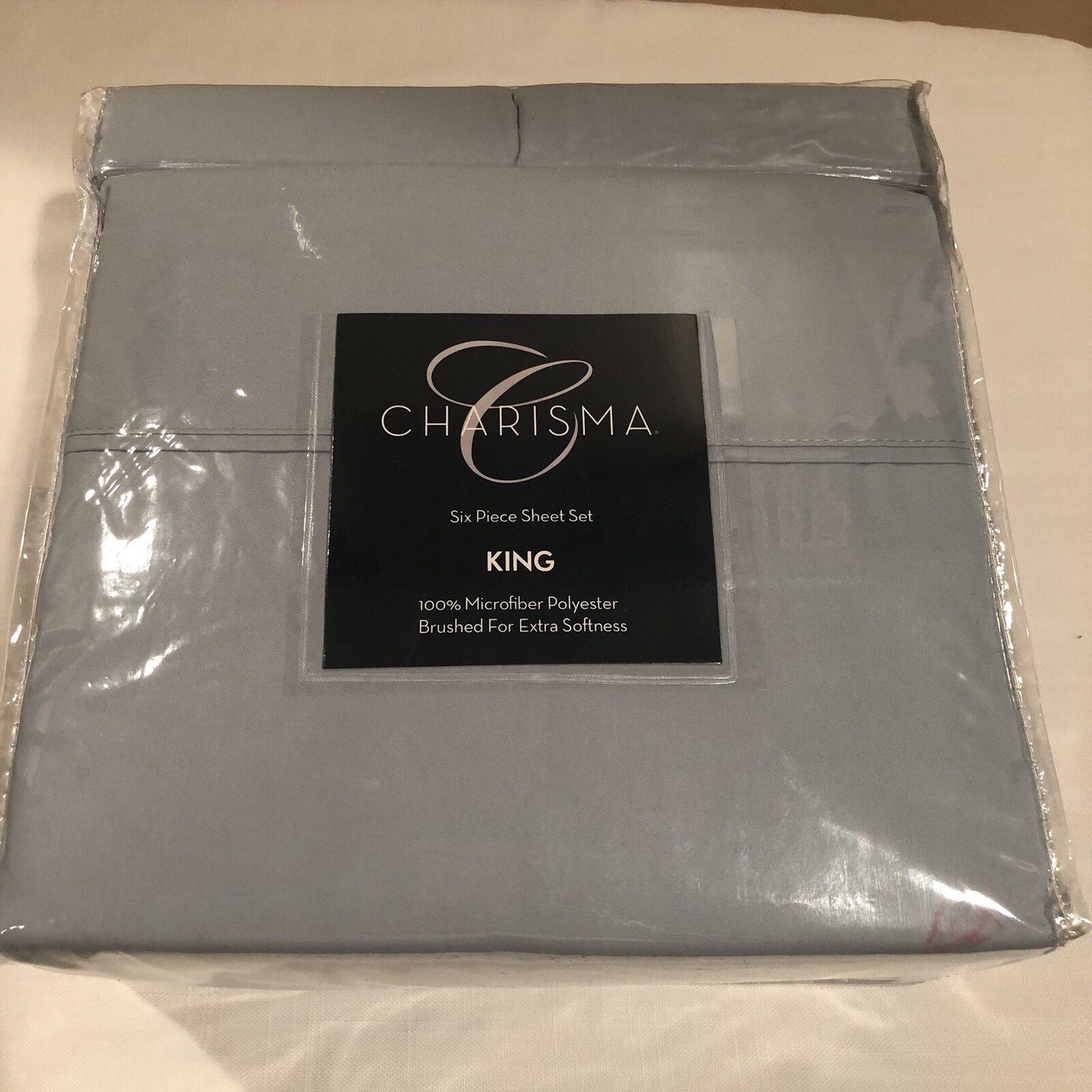 Charisma King Microfiber Polyester Six Piece Sheet Set blueeeee Free Shipping