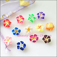 25Pcs Mixed Handmade Polymer Fimo Clay Flower Spacer Beads Charms 12mm