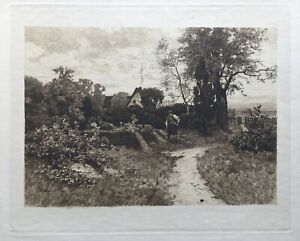 Etching-Wilhelm-Feldmann-1859-1932-North-German-landscape-33-x-41-cm-Weimar