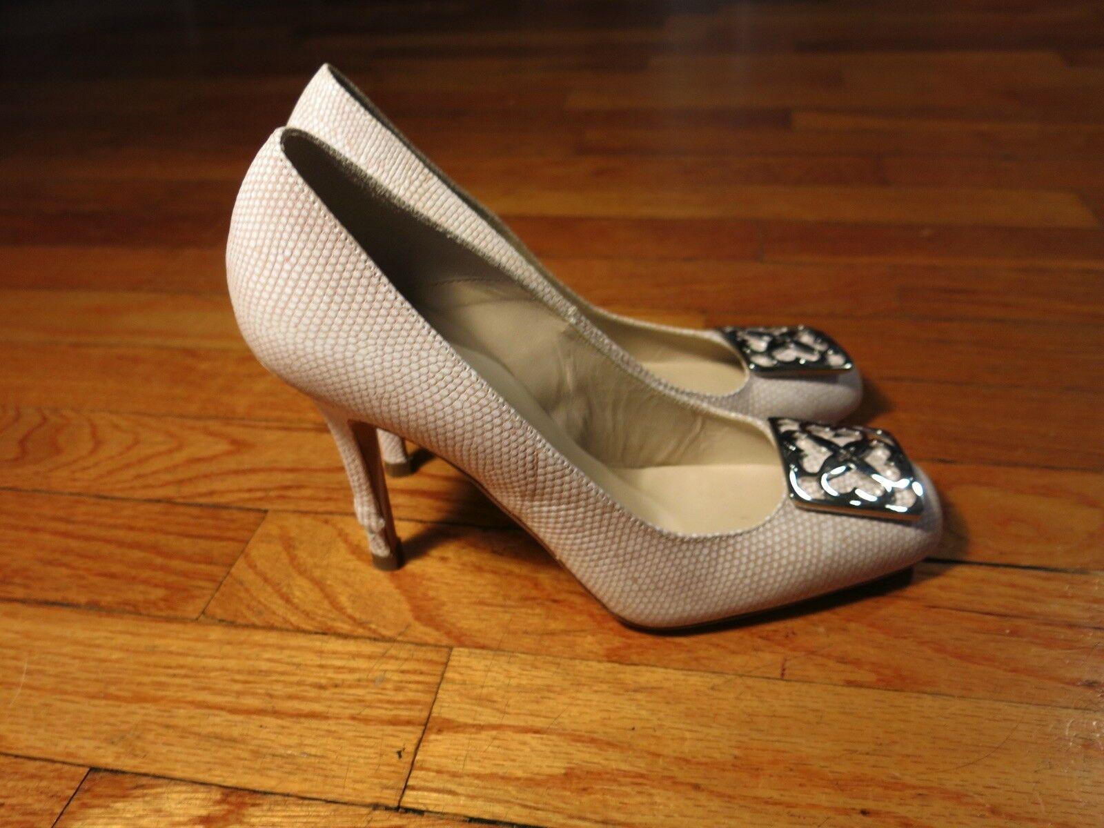 L.K. Bennett London Snakeskin blanco Leather High Heels Pumps EU 37 1 2 38 US 8