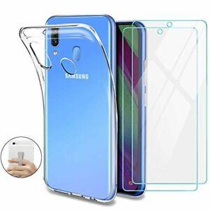 YNMEacc Coque pour Samsung Galaxy A40 Silicone Transparente, [Lot de 2] Verre tr