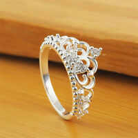 Fashion Womens Princess Queen Crown Wedding Ring Silver Plated Crystal Ring