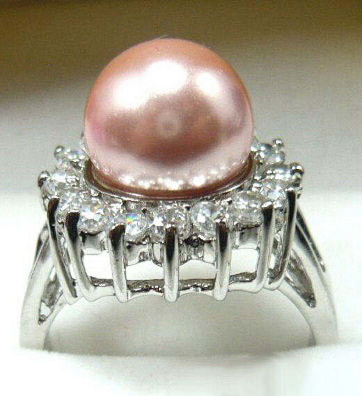 Pink South Sea Shell Pearl White Gold Plated Crystal Ring Size: 6.7.8.9.10