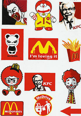 "Delightful Colors And Exquisite Workmanship Novel Designs Sticker Set 12 Cool Sticker "" Fast Food "" Ideal For Stickerbomb Famous For Selected Materials"
