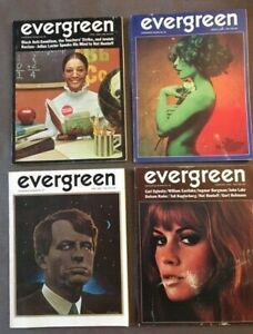 February, March, April & June 1969 Evergreen Review Hippie Magazines (4 issues)