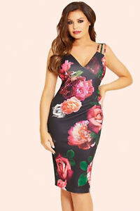 NEW-Jessica-Wright-Floral-Strappy-Dress-Black-Multi-Size-8-RRP-65