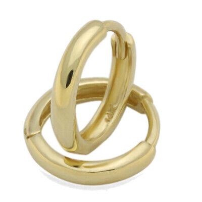 8mm X 8mm 14k Yellow Gold Small Plain Huggies Earrings,