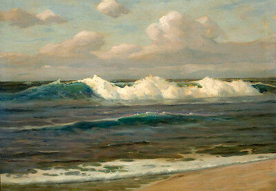 Oil painting seascape - An Expansive Landscape with & ocean waves free shipping