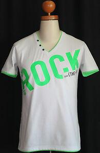 034-Re-Rock-034-Herren-T-Shirt-Slim-Fit-weiss-Druck-kurzarm-V-Ausschnitt-L-52-54-neu