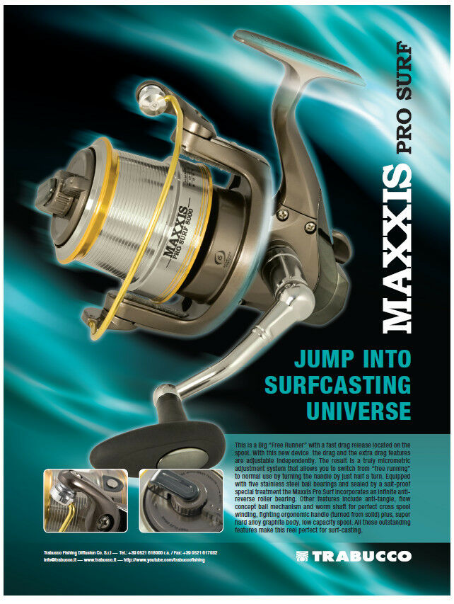 Trabucco Maxxis Pro Surf 3 Größes with free runner facility ss bearings 50% off