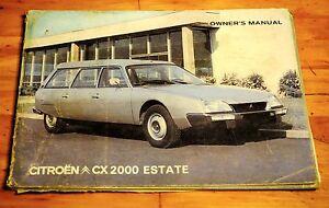 citroen cx 2000 estate owners manual january 1976 ebay rh ebay com citroen cx user manual citroen cx owners manual pdf